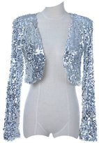 Vikoros Women's S/M Fit Sequins Disco Long Sleeve Bolero Shrug Top