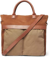 WANT Les Essentiels O'Hare Leather-Trimmed Suede and Organic Cotton-Canvas Tote Bag