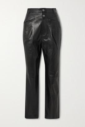 IRO Heim Pleated Leather Straight-leg Pants - Black
