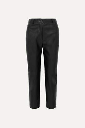 Stella McCartney Cropped Faux Leather Straight-leg Pants - Black