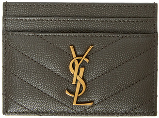 Saint Laurent Grey Monogramme Card Holder