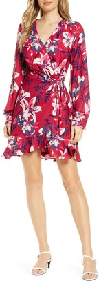 Adelyn Rae Shayne Long Sleeve Floral Faux Wrap Dress