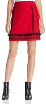 Kate Spade Pom-Pom Embroidered Mini Skirt