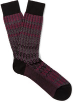 Missoni Crochet-knit Cotton-blend Socks - Claret