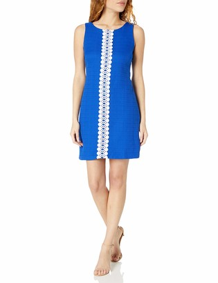 Ronni Nicole Women's Sleevless Textured Sheath with Lace Trim