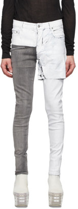 Rick Owens White Wax Tyrone Collage Jeans