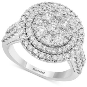Effy Diamond Halo Cluster Engagement Ring (1-7/8 ct. t.w.) in 14k White Gold
