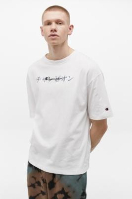 Champion UO Exclusive Japanese Script Logo White T-Shirt - White XL at Urban Outfitters