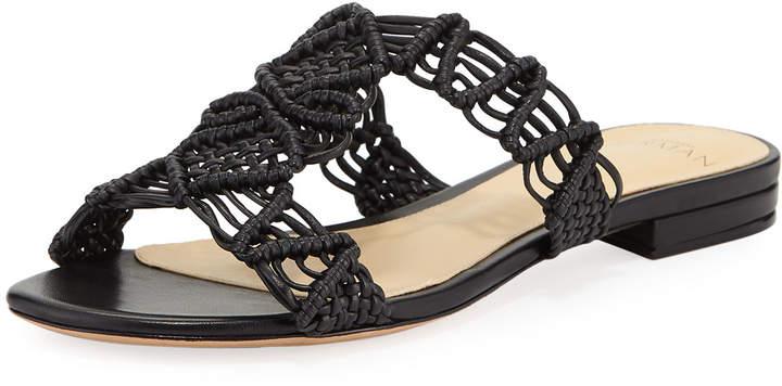 Alexandre Birman Rondah Crocheted Leather Slide Sandals, Black