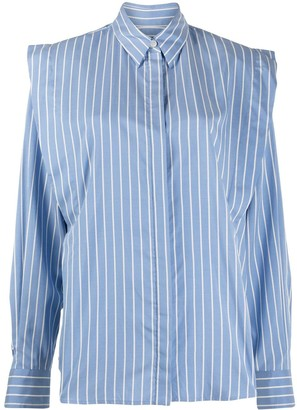Isabel Marant Silk Stripe Shirt With Flared Shoulders
