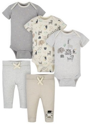 Gerber Baby Boy or Girl Gender Neutral Organic Onesies Bodysuits and Pants Bundle, 5-Piece