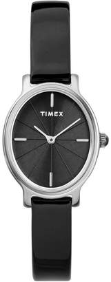 Timex Milano Oval 24mm Patent Leather Strap Watch