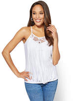 New York & Co. Lace-Inset Fringe-Trim Tank Top