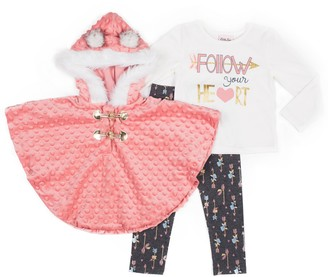 Little Lass Toddler Girl Hooded Poncho, Tee and Printed Leggings Set