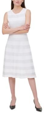 Calvin Klein Rib-Knit Striped Dress