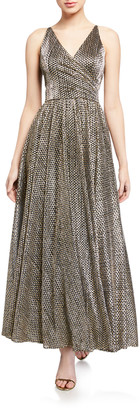 Dress the Population Valentina Metallic Sleeveless Shirred-Bodice Gown