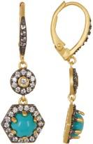 Freida Rothman 14K Gold & Black Rhodium Plated Sterling Silver CZ Metropolitan Stone Two-Tone Drop Earrings