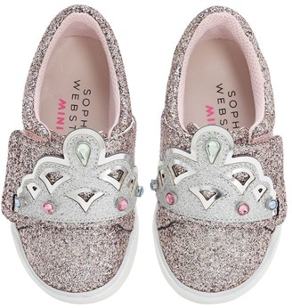 Sophia Webster Royalty Glittered Leather Sneakers
