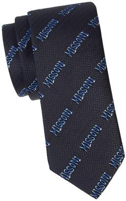 Missoni Logo Print Silk Tie
