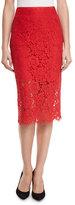 Diane von Furstenberg Glimmer Floral Lace Pencil Skirt