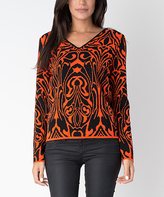 Yuka Paris Black & Orange Abstract V-Neck Sweater