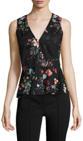 Rebecca Taylor Floral Print Sleeveless Peplum Top