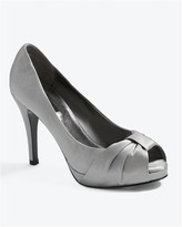White House Satin Bow Peeptoe Heel