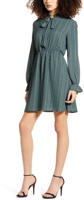 Vero Moda Zenac Geo Print Long Sleeve Short Dress
