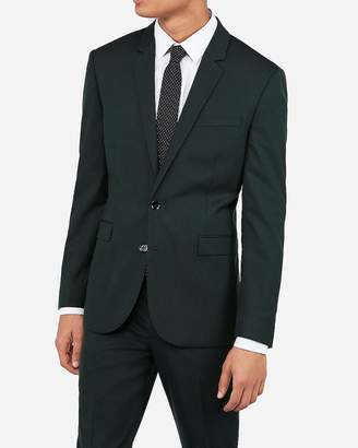 Express Extra Slim Dark Green Wool-Blend Stretch Oxford Suit Jacket