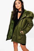 Boohoo Alisha Boutique Faux Fur Hood Parka