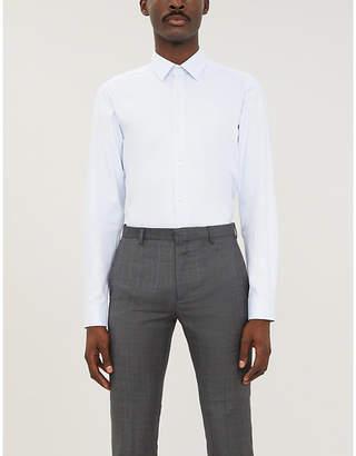 BOSS Polka dot-print slim-fit cotton-jersey shirt