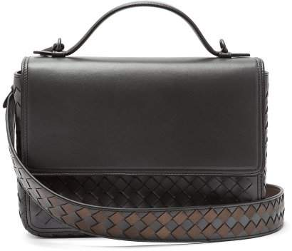 Bottega Veneta - Intrecciato Woven Leather Satchel - Womens - Silver Multi