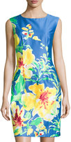 Chetta B Floral-Print Sleeveless Sheath Dress, China Blue/Daffodil