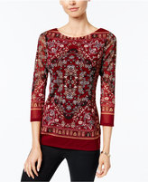Charter Club Printed Mesh Top, Only at Macy's