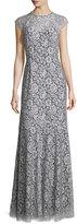 Shoshanna Cap-Sleeve Lace Gown, White/Black