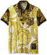 Versace Men's Gold Printed Polo