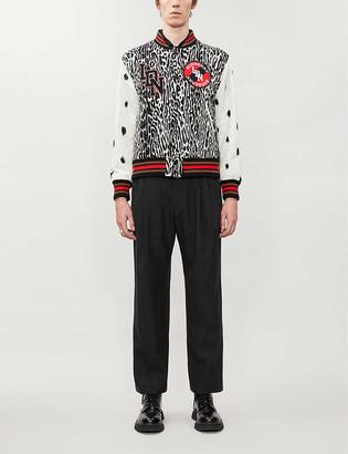 Burberry Contrast-sleeve leopard wool bomber jacket