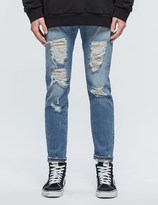 Palm Angels Regular Fit Ripped Light Wash Jeans