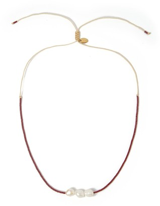Arms Of Eve Sage Gold & Pearl Choker - Maroon