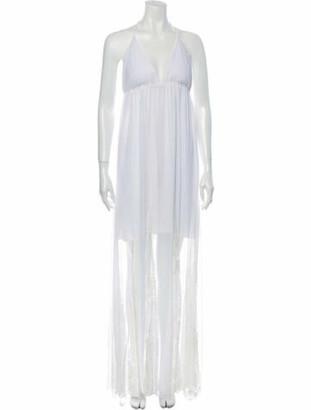 Alice + Olivia V-Neck Long Dress w/ Tags White