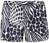 Equipment Landis Animal-print Washed-silk Shorts - Midnight blue