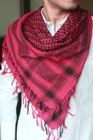 Cotton Patterned Scarf for Men, 'Red Houndstooth'