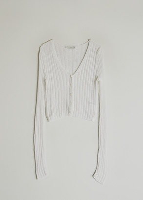 Which We Want Women's Ruby Knit Cardigan Sweater in White, Size Small