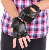May&Maya Women's Genuine Nappa Leather Fingerless Motorcycle Fashion Driving Gloves (S)