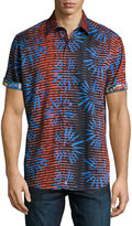 Robert Graham Firework-Printed Short-Sleeve Shirt, Blue/Red