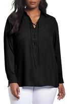 Foxcroft Plus Size Women's Lace-Up Blouse