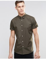 Asos Smart Shirt With Short Sleeves In Khaki