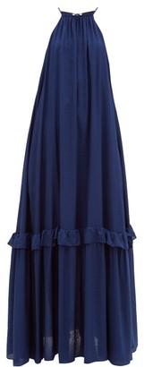STAUD Ina Tiered Halterneck Muslin Maxi Dress - Navy