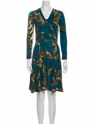 Issa Silk Knee-Length Dress Blue