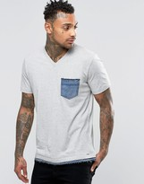 Diesel T-Basicla T-Shirt Denim Pocket & Trim